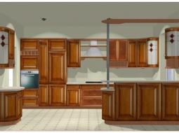 Kuchnia z drewnianymi frontami XB czereśnia